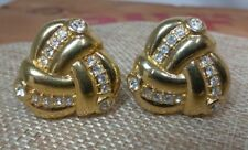 Vintage Swarovski Brand Swan Signed Gold Tone Clear Crystal Clip-On Earrings