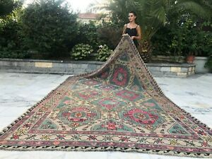 Antique Handmade Vintage Unique Rustic Russian Soumak Area Rug 11' x 6'4""