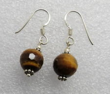 1 Pair 925 Silver Beaded Earring Natural Tiger Eye Gem Stone Faceted 30 mm Long