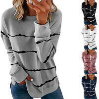 Fall Women Casual Long Sleeve T Shirt Crew Neck Tops Floral Blouse Size Plus