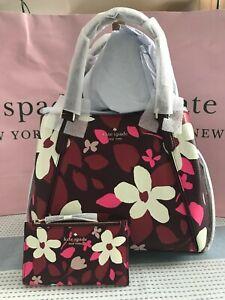 Kate Spade Jackson Forest Floral Medium Triple Compartment Satchel & Wallet Set