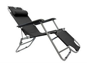 Leisurewize Easi-Recline Sun Lounger Chair - Black Garden Camping Caravan