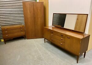 Wrighton Mid Century Vintage Teak Wardrobe Chest Of Drawers Dressing Table
