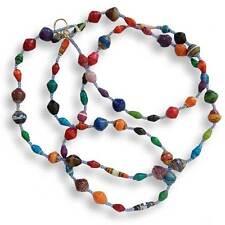 Multicolour Paper Bead Long Necklace - Handmade in Uganda - Fair Trade