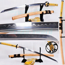 CLAY TEMPERED FOLDED STEEL BLADE IRON TSUBA JAPANESE SAMURAI SWORD KATANA SHARP