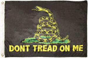 2x3 Gadsden Black Yellow Snake Don't Tread On Me 2'x3' Knit Nylon Flag (RUF)