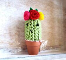New listing Cactus with Flower Headband Mini Succulent Crochet Plant Hippie Boho 3 Flowers