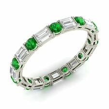Certified 1.76 Ct Natural Emerald & VS Diamond 14ct White Gold Wedding Band Ring