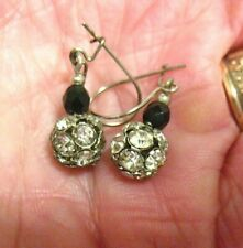 SILVER CLEAR RHINESTONE EARRINGS DANGLE PIERCED DISCO BALLS