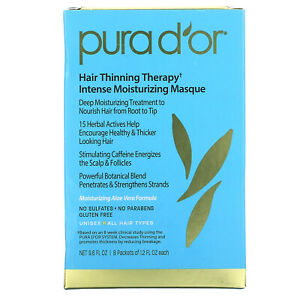 Pura D'or, Hair Thinning Therapy, Intense Moisturizing Masque, 8 Packets, 1.2