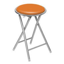 Premier Housewares 30 Diax45cm Round Folding Stool Orange Seat Silver Frame