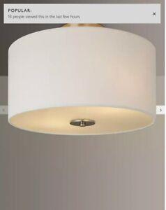 John Lewis & Partners Jamieson Semi-Flush Ceiling Light, Satin Nickel