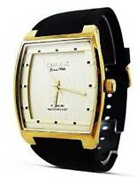 New Fashion Dress Style Omax Mens Watch Black Strap Golden Border Analog Quartz