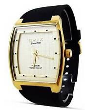 New Fashion Dress Style Omax Mens Watch Black Strap Golden Border Analog Quartz