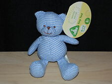 ELC BLUE TEDDY BEAR SOFT TOY GINGHAM CHECK BABY COMFORTER EARLY LEARNING CENTRE