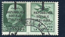 1944 RSI - SOPR.SU 2 SEZIONI SPOSTATA. RARO!!' Sass.39/B NON QUOTATO !!(739-a49)