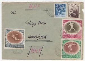 1957 Jun 21st. Cover. Katowice to Nassau, Germany. 1956 Melbourne Olympics.