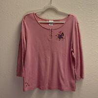 Disney Store Eeyore Piglet Shirt 100% Cotton XL 3/4 Sleeve Pull Over