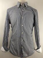 ERMENEGILDO ZEGNA XL Blue White Striped Button Front Long Sleeve Dress Shirt