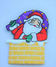 FATHER CHRISTMAS CHIMNEY Embroidered Iron Sew On Cloth Patch Badge  APPLIQUE