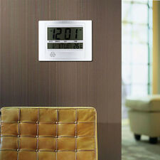 !*Hot Self Setting Digital LCD Home Office Decor Wall Clock Indoor Temperature!W