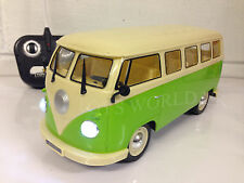 GERMAN VW CAMPER VAN RADIO REMOTE CONTROL CAR LED HEADLIGHTS 1/16 - GREEN