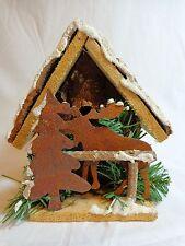 Decorative Bird House Rustic Cabin Bark Moose Evergreen Tree Snow