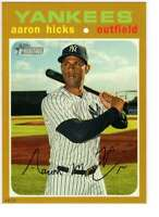 Aaron Hicks 2020 Topps Heritage 5x7 Gold #489 /10 Yankees
