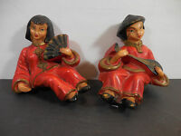 Vintage Pair Oriental Hand Painted Figures Japanese Chinese Art Mount Shelf  Sit