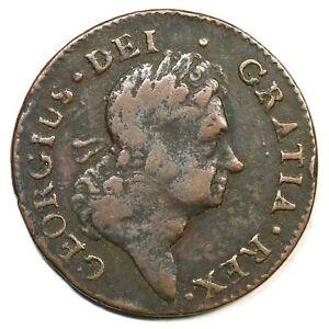 1722 Harp Right Rim Break Hibernia Half Penny Colonial Copper Coin