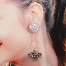 women Long chain Oxidized Silver Plated Jhumka jhumki Ethnic Earrings Jewelry