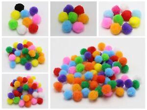 Mixed Color Soft Fluffy Pom Poms for Kids DIY Crafts Pompoms Ball Pick Your Size