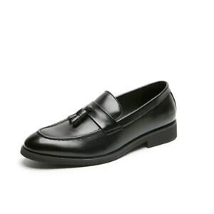 Mens Korean Fashion Faux Leather Tassel Pointed Toe Flat Driving Leisure Shoes