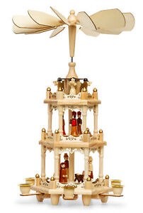 SIKORA P3 Traditional Wooden Christmas Pyramid Three Levels for Candles H 17.7in
