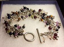Beautiful Multi Gemstone bead charm like bracelet 925 Silver HM