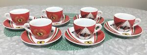 6 Ferrari F1 World Champions Espresso Cups & Saucers Official Licensed Product
