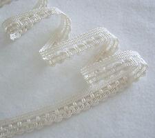 "Rayon Braid Foldover or Flat Trim WHITE 3/4"" w X 3 Yards Dressy NOS"