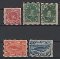 G129760/ NEWFOUNDLAND / CANADA / SG # 49 – 50 – 50a – 51 - 53 MINT MH – 245 $