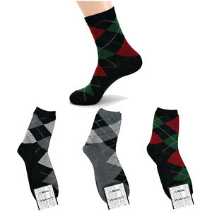 GANA Men's Argyle Dress Business Socks Low Cut Casual Fashion Lot Middle Crew