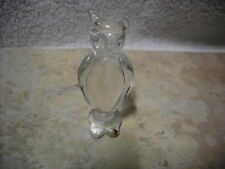 GLASS ART FIGURAL HORNED OWL CLEAR 2 3/8 INCHES TALL