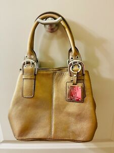 New Tignanello Handbag Small Leather Bronze Purse Retailed $129