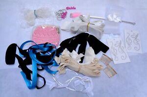 Job lot 17 units cotton ribbons satin bias elastic band hair combs with defect
