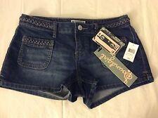 Sound Girl Short Shorts Women's Size 9 Dark Blue Nwt Braided Waist
