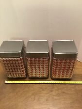Anchor Hocking Square Ribbed Glass Canisters With Metal Lids Containers Lot Of 3