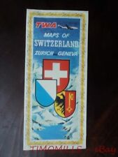 c.1953 TWA MAP OF ZURICH GENEVA SWITZERLAND Trans World Airlines Vintage VG