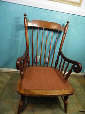 Rocking Chair Tell City Vintage Antique Wood Spindle Back Rocker Metal Woven