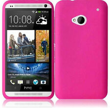 For HTC ONE / M7 Rubber Soft Silicone Gel SKIN Case Phone Cover Hot Pink