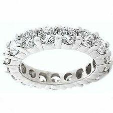 4.05 ct Round Diamond Ring Platinum Eternity Band F-G Vs/Si1 sz 5 0.25 ct each