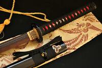 Japanese Katana Kill Bill Sword Red Clay Tempered Double Groove Blade Very Sharp