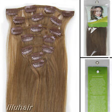 20Inch 7Pcs Straight Clip In Real Remy Human Hair Extensions 70G 12 Light Brown